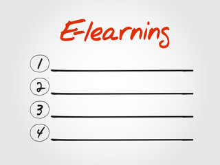 Blank E-learning list, vector concept background