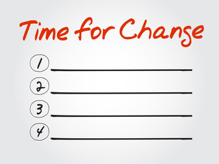 Blank Time for Change list, vector concept background