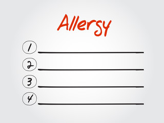 Blank Allergy list, vector concept background