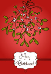 Red Christmas card with branch of mistletoe