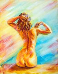 Beautiful naked woman sitting