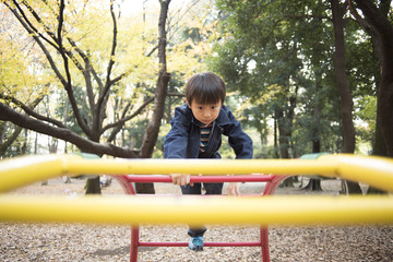 Boy playing in the park playground equipment
