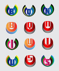Abstract icon based on the letter logo E, Q, N, B, I, U, S