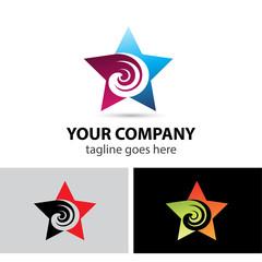 Abstract star icon swirl logo