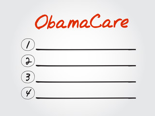 Blank ObamaCare list, vector concept background