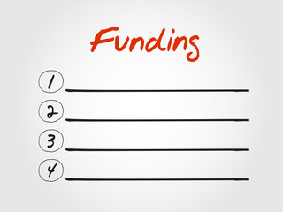 Blank Funding list, vector concept background