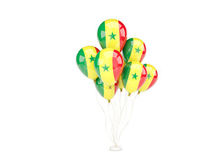 Flying balloons with flag of senegal
