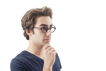 Portrait of thinking young man
