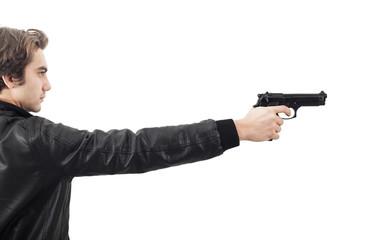 The man holding a gun