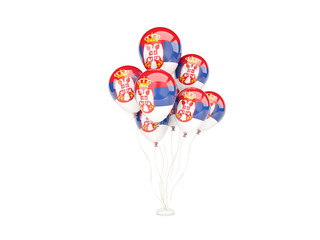 Flying balloons with flag of serbia
