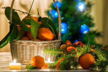 Basket with mandarins