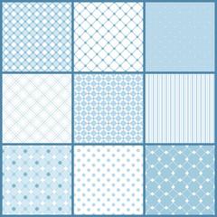 Blue seamless patterns set
