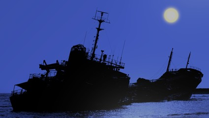 Shipwreck of a Beached Diesel Tanker at Night