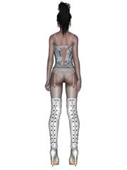 Pin Up, Unterwäsche Model, Strapse, Hintern, Hinterteil, Rücken