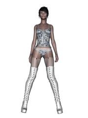 Pin Up, sexy Pose, Unterwäsche Model, Strapse, Stiefel, weiss