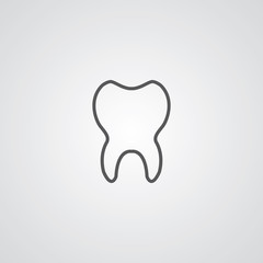 tooth outline symbol, dark on white background, logo template.