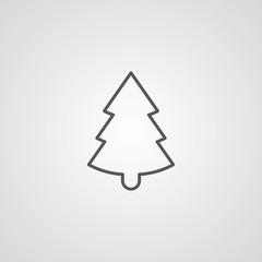 Christmas tree outline symbol, dark on white background, logo te