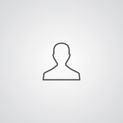 male outline symbol, dark on white background, logo template.