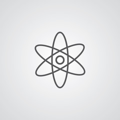 atom outline symbol, dark on white background, logo template.