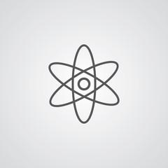 atom outline symbol, dark on white background, logo template.