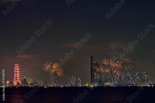 New year celebration in Burj Al Arab and Burj Khalifa Poster