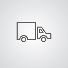 truck outline symbol, dark on white background, logo template.