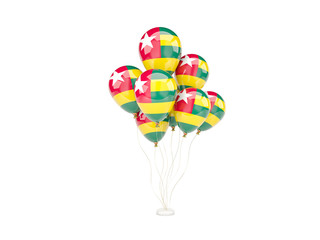 Flying balloons with flag of togo