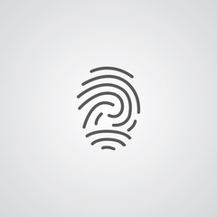 fingerprint outline symbol, dark on white background, logo templ