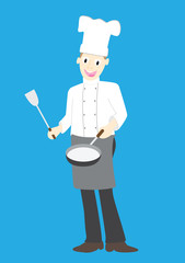 Illustration of a chef on a blue background