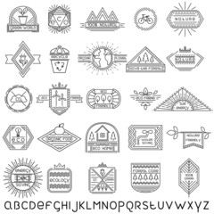 Set of 25 linear ecology labels and linear font