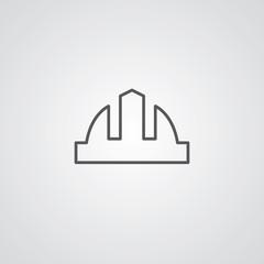 construction helmet outline symbol, dark on white background, lo