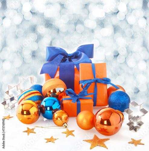 Orange and blue Christmas background