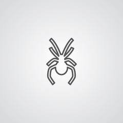 spider outline symbol, dark on white background, logo template.