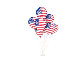 Flying balloons with flag of united states of america