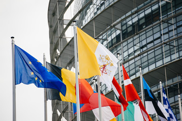 Vatican and all European Flags in front of EU Parliament