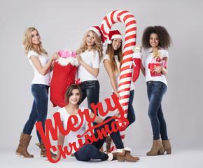 Beautiful girls during  the Christmas season