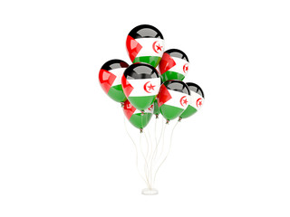 Flying balloons with flag of western sahara