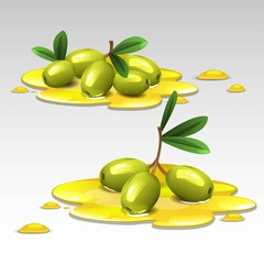Green olives in the oil