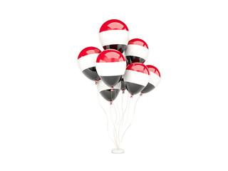 Flying balloons with flag of yemen