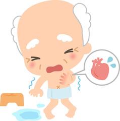 風呂場で震える高齢男性