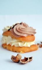 Hazelnut shells against cake