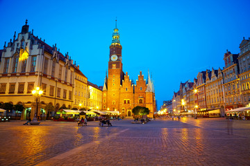 The market square at night time. Wroclaw, Poland.