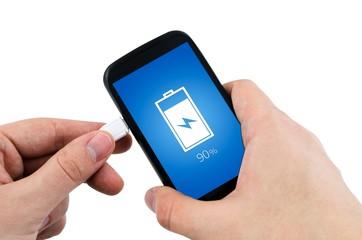 Man using phone charger via USB