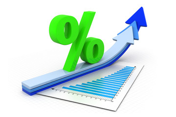 Percentage symbol and arrow graphs .