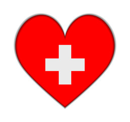 Switzerland heart flag vector