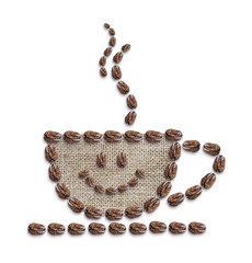 Hot coffee is smiling on white background