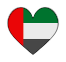 United Arab Emirates heart flag vector
