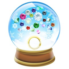 Birthstones snow dome illustration
