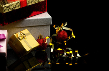 gift boxes with  balls