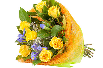 bouquet of yellow roses and irises